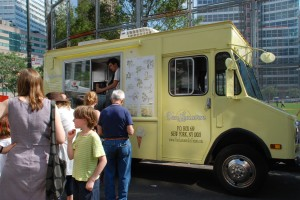 Van Leeuwen ice cream truck draws crowds.