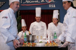 Paul Bocuse, Lea Linster, and Jerome Bocuse at US finals 2008. Photo: courtesy Bocuse d'Or USA.