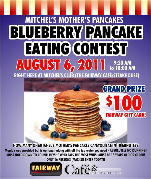 Blueberry Pancake Eating Contest at Fairway Upper West Side